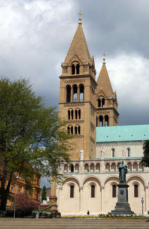 the Cathedral of Pecs and monument Hungary