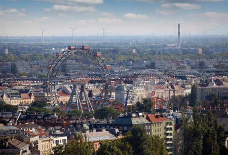 Ferris wheel in Prater park cityscape Vienna