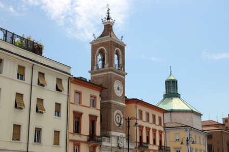 clock tower Piazza Tre Martiri square in Rimini Italy