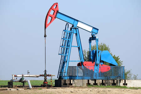 Pump jack on field oil and gas industry Stock Photo