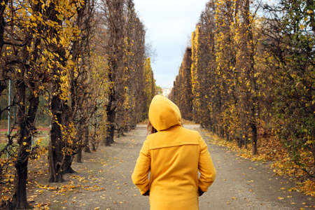 girl in a yellow hooded coat in the park Vienna autumn season