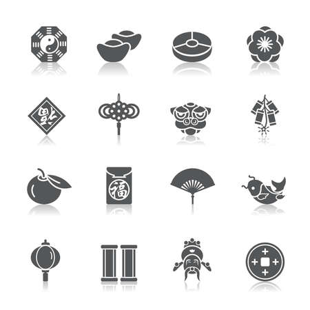 chinese paper lanterns: Chinese New Year Icons Illustration