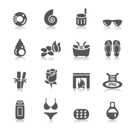 lens brush: Beauty and Cosmetic Icons Illustration