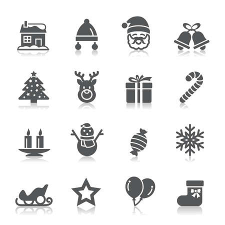 house clip art: Christmas Element Icons Illustration