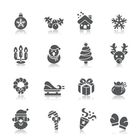 flower clip art: Christmas Element Icons Illustration