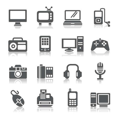 personal digital assistant: Digital Products Icons Illustration