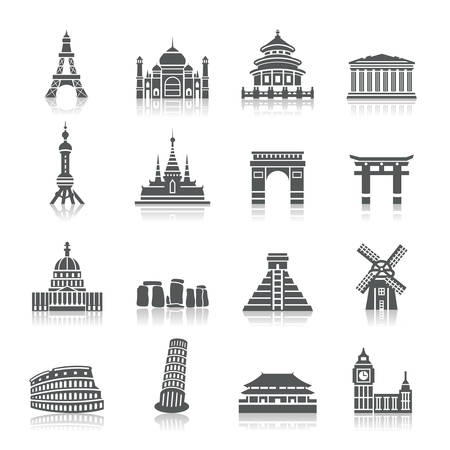 Famous Scenic Spots Icons Vector