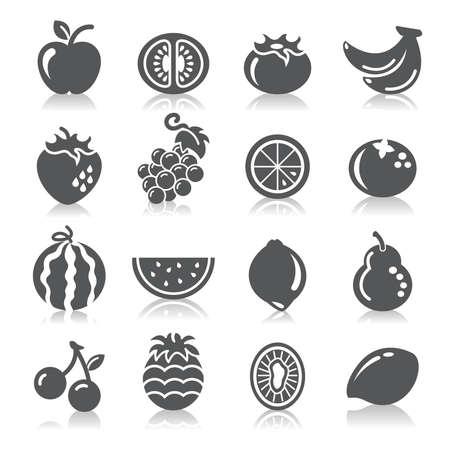 fruta tropical: Frutas Iconos Vectores
