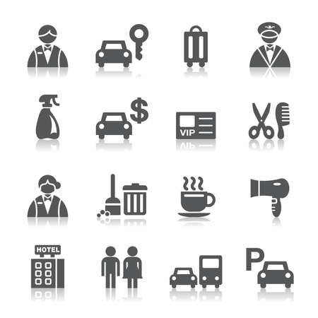 hotel staff: Hotel Icons Illustration