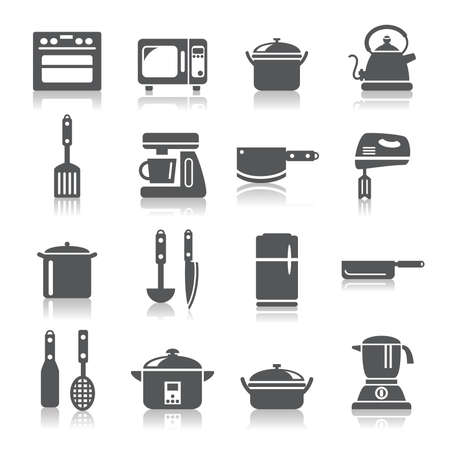 Kitchen Utensils and Appliances Icons Ilustracja