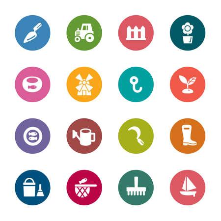 fischerei: Landwirtschaft und Fischerei Farbe Icons
