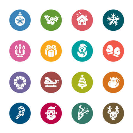 Christmas Element Color Icons Vector
