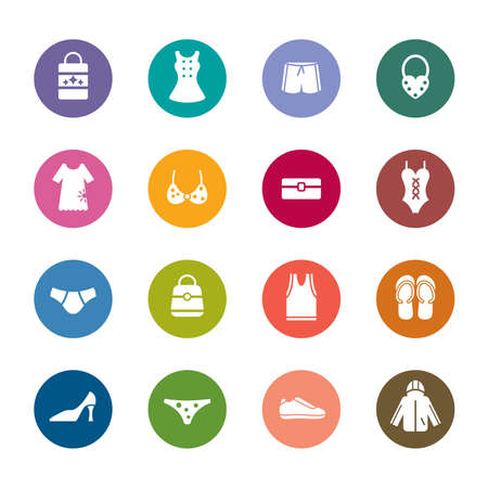 Clothing and Accessories Color Icons Vector