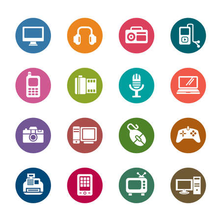 Digital Products Color Icons Stock Vector - 30347795