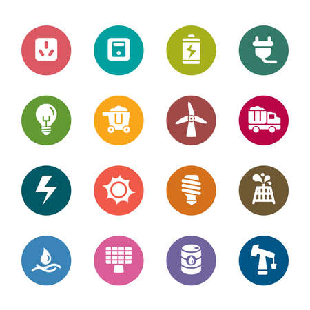 Biomass: Energy Color Icons Illustration