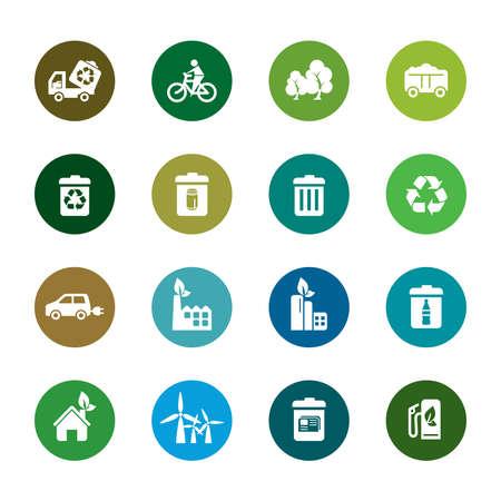 kompost: Umweltschutz Farbe Icons Illustration