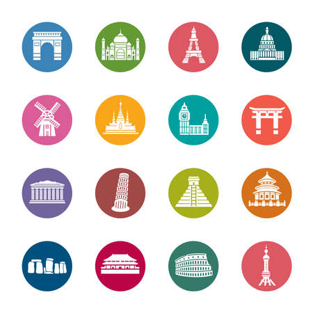 Famous Scenic Spots Color Icons Vector