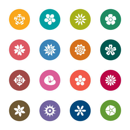 Flowers Color Icons Vector