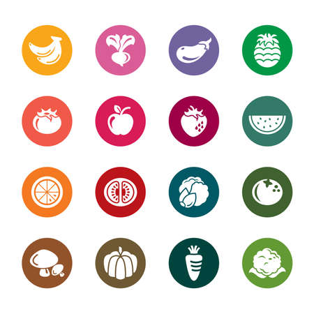 button mushroom: Fruit and Vegetables Color Icons