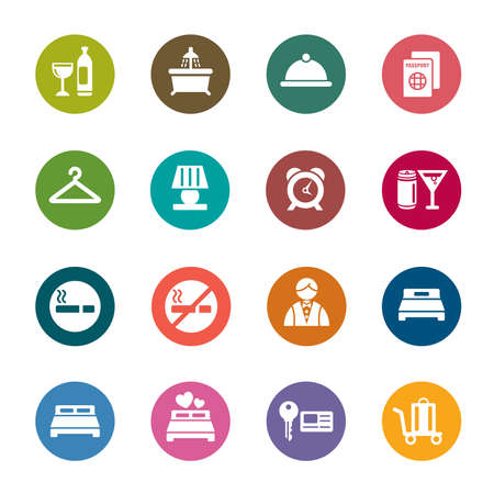 Hotel Color Icons Vector