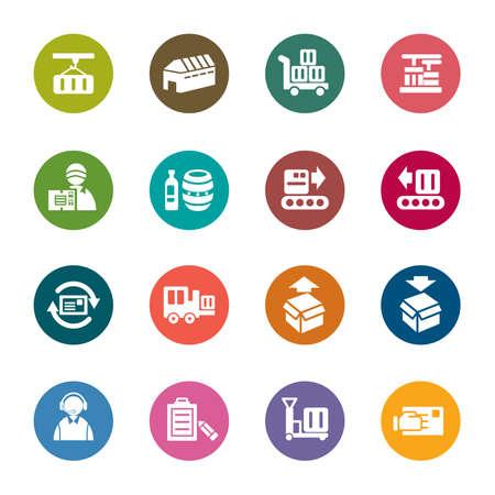 cinta transportadora: Logística y Transporte Iconos De Colores