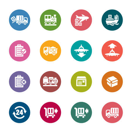 Logistics and Transport Color Icons Vector