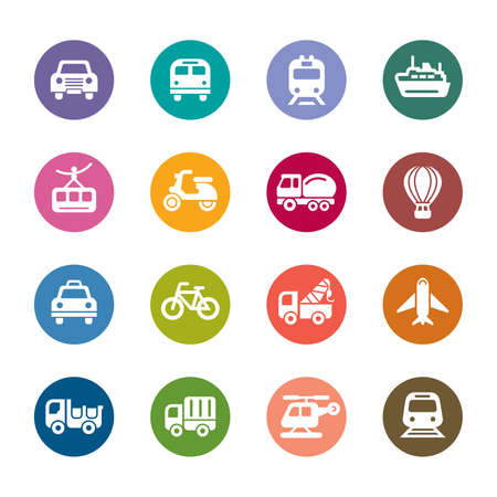 Transportation Color Icons Vector