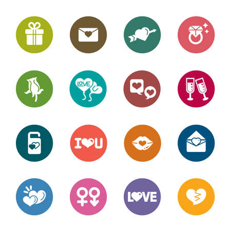 Valentines and Love Color Icons Vector