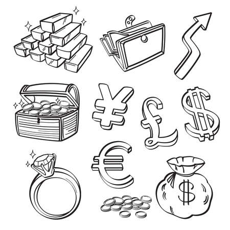 Financial   Currency Icon Set Vector