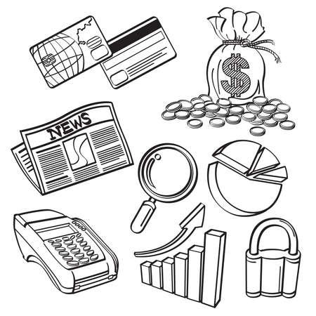 Financial   Business Icon Set Ilustracja