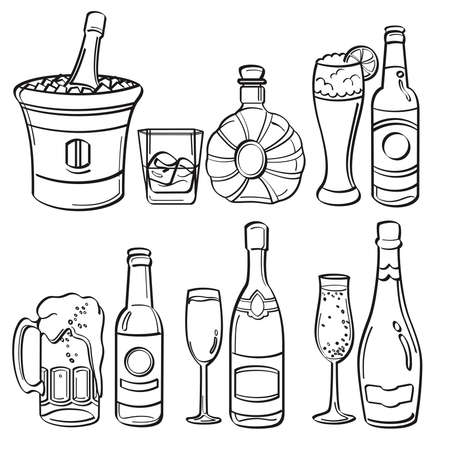 Alcohol Bottles Collection Vector