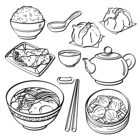 doodle art clipart: Asian food Collection