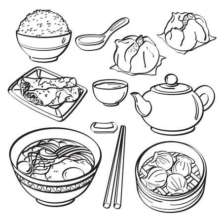 arroz chino: Comida asiática Collection Vectores