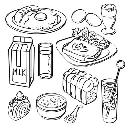 bacon art: Breakfast Set Collection Illustration