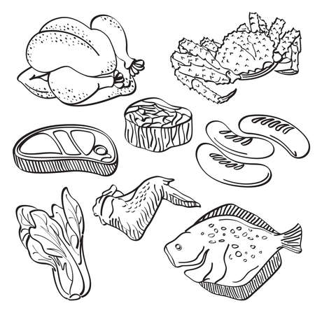 outline drawing of fish: Fresh food Collection