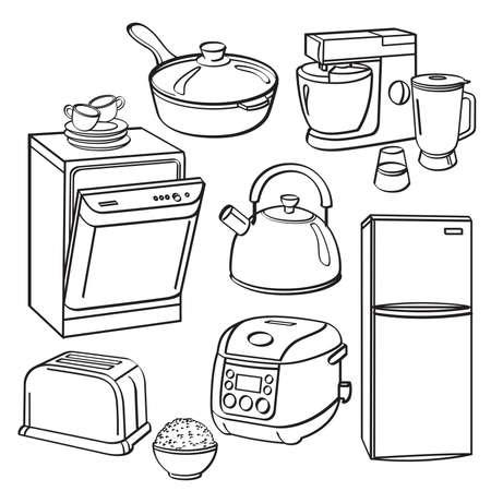 Keukengerei en apparatuur Vector Illustratie