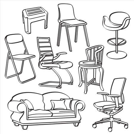 chair wooden: Chairs Collection Illustration