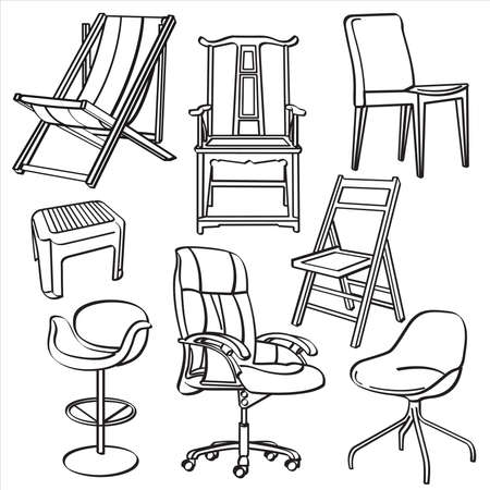 lounge chair: Chairs Collection Illustration