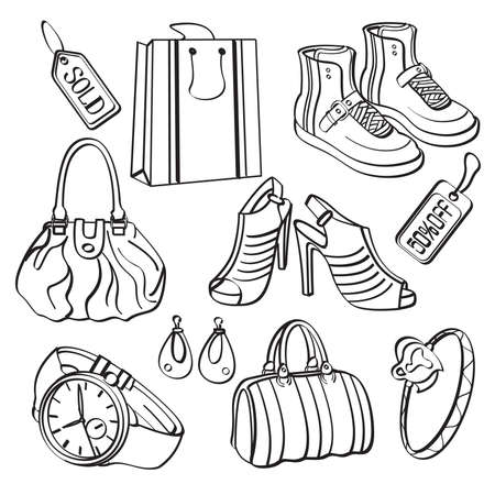 Shopping Set and Consumer Goods Collection Vector