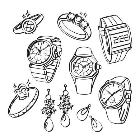 dessin au trait: Bijoux et Montres