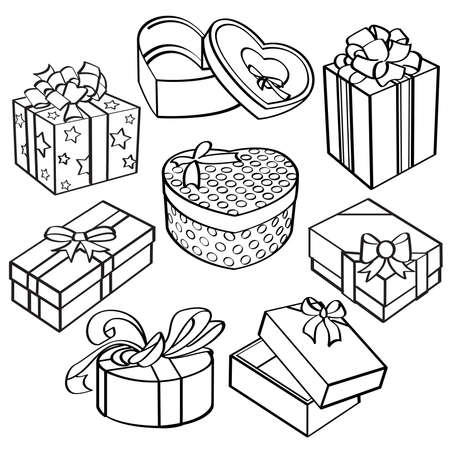 heart gift box: Gift box collection Illustration