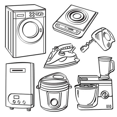 Home Electric Appliances Vector