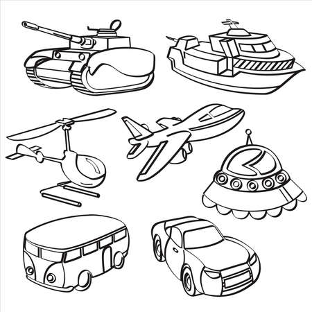 dessin noir et blanc: Jouets Transport Collection Illustration