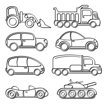 domestic car: Transportation Toys Collection Illustration
