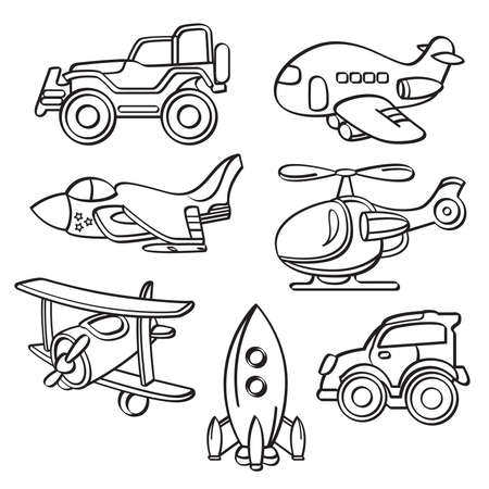 Transportation Toys Collection Illustration
