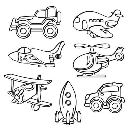 mini car: Transportation Toys Collection Illustration