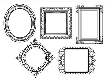 black picture frame: Elegant Ornate frames Illustration