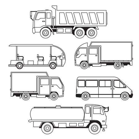 camion de basura: Transporte Colecci�n de Veh�culos Vectores