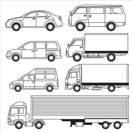 dessin au trait: Transport de v�hicules Illustration