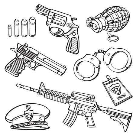 Military Equipment Collection Vector